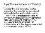 algorithm as mode of explanation