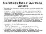 mathematical basis of quantitative genetics