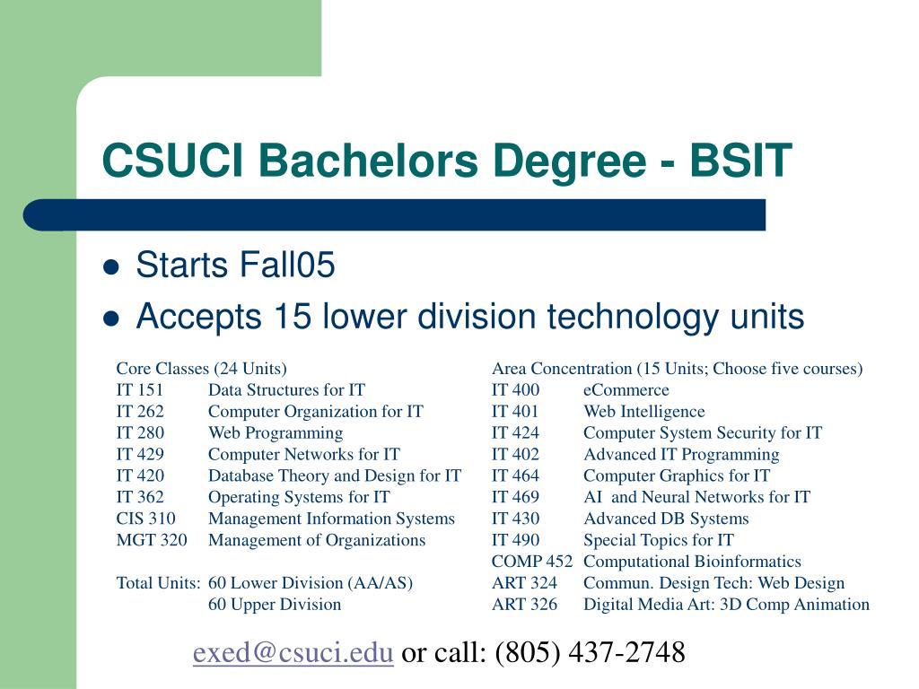 CSUCI Bachelors Degree - BSIT