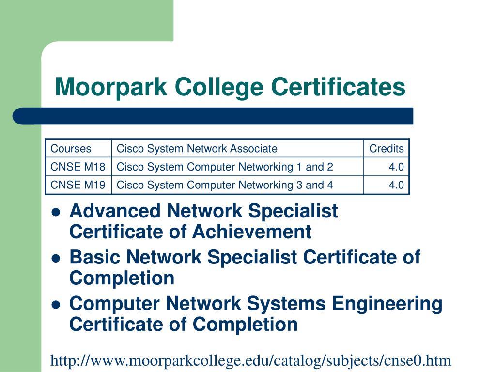 Moorpark College Certificates