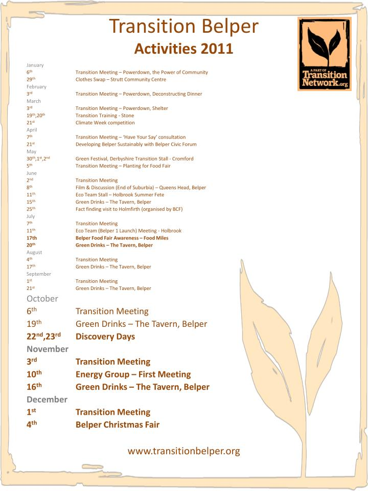 Transition belper activities 2011