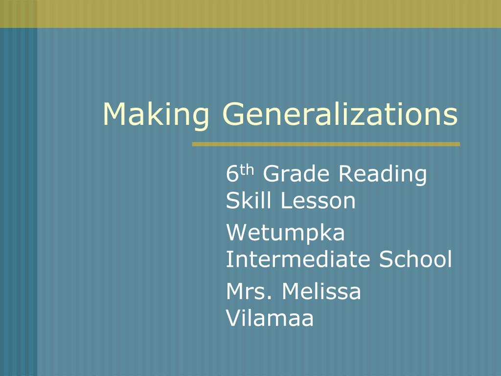 making generalizations l.