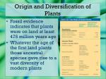 origin and diversification of plants