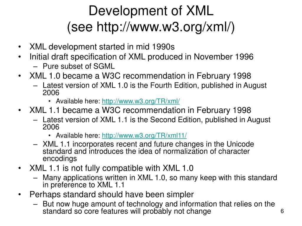 Development of XML