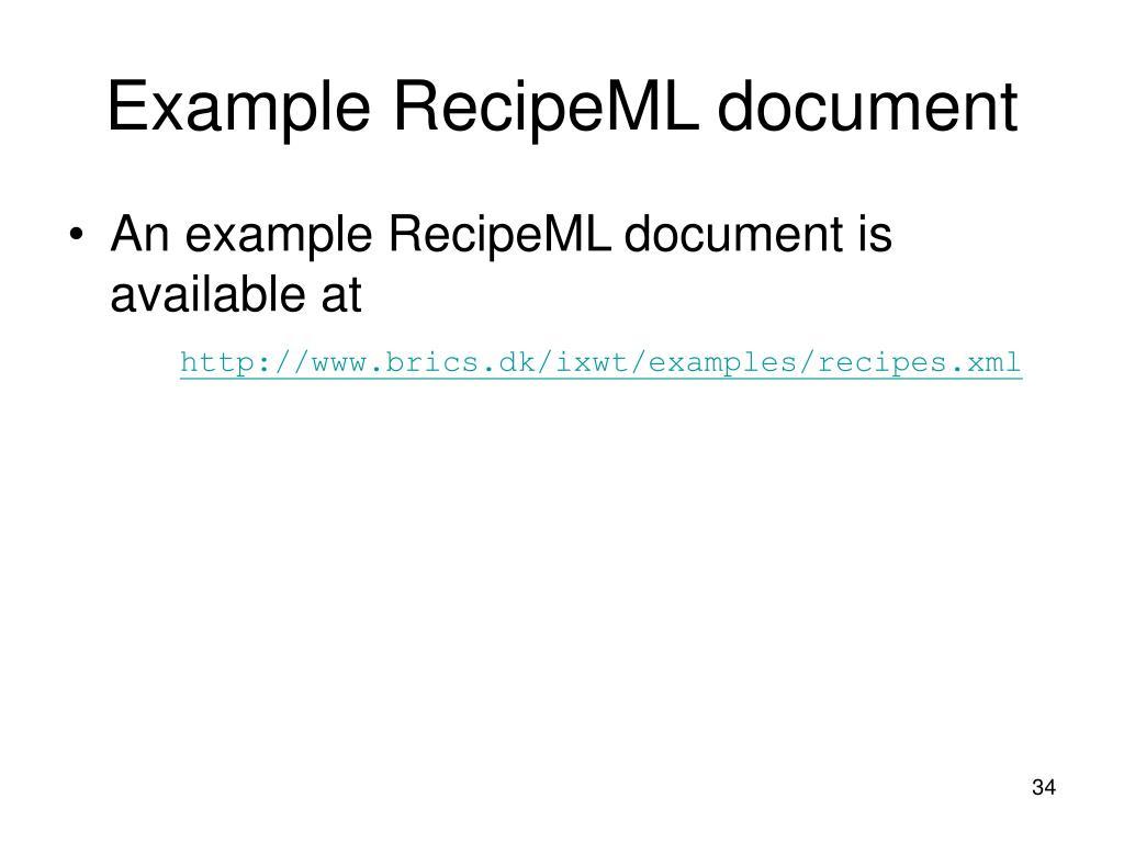 Example RecipeML document
