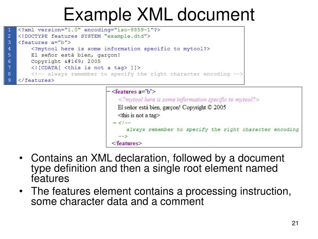 Example XML document