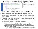 examples of xml languages xhtml