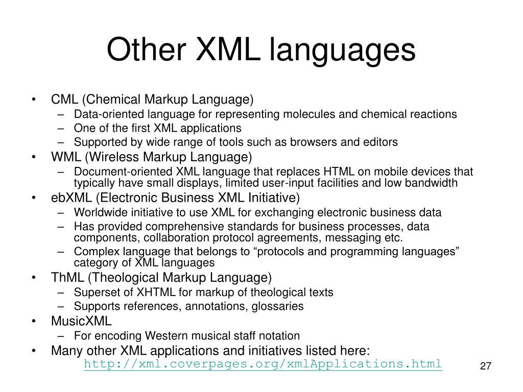 Other XML languages