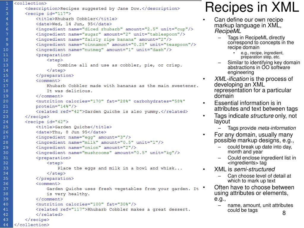 Recipes in XML