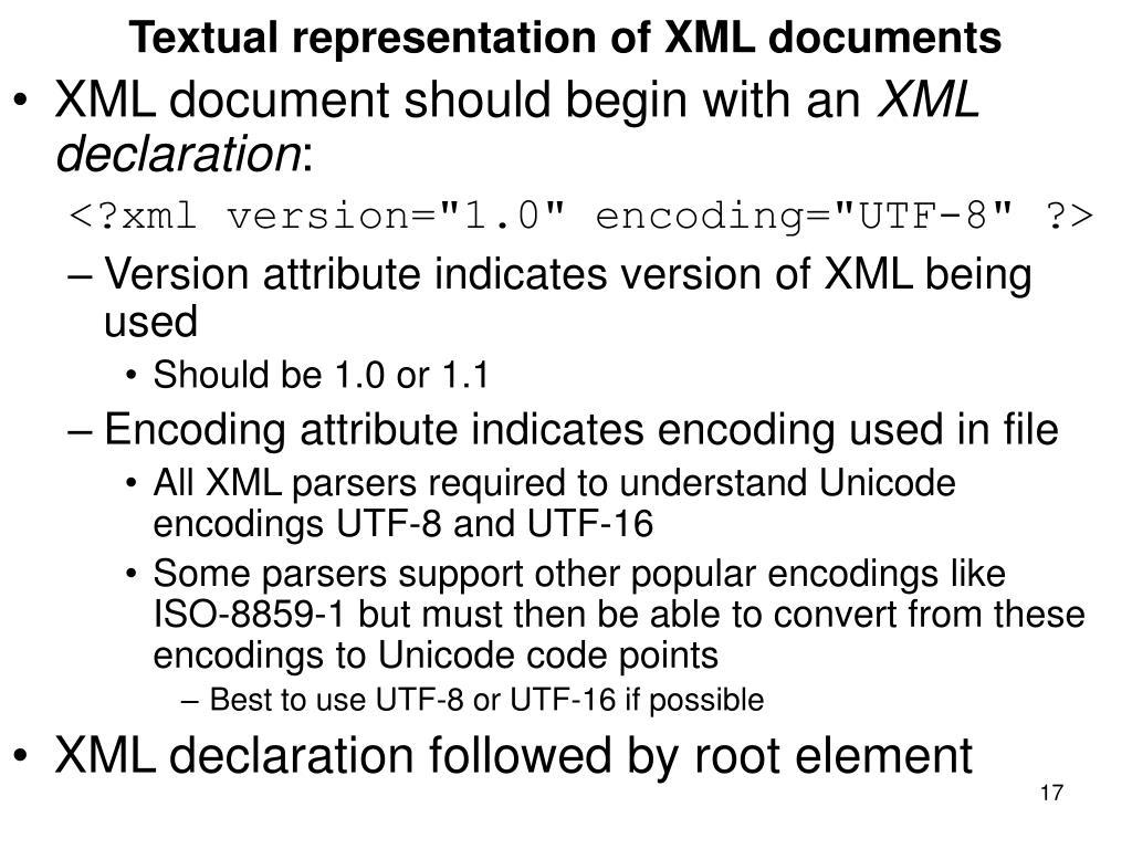 Textual representation of XML documents