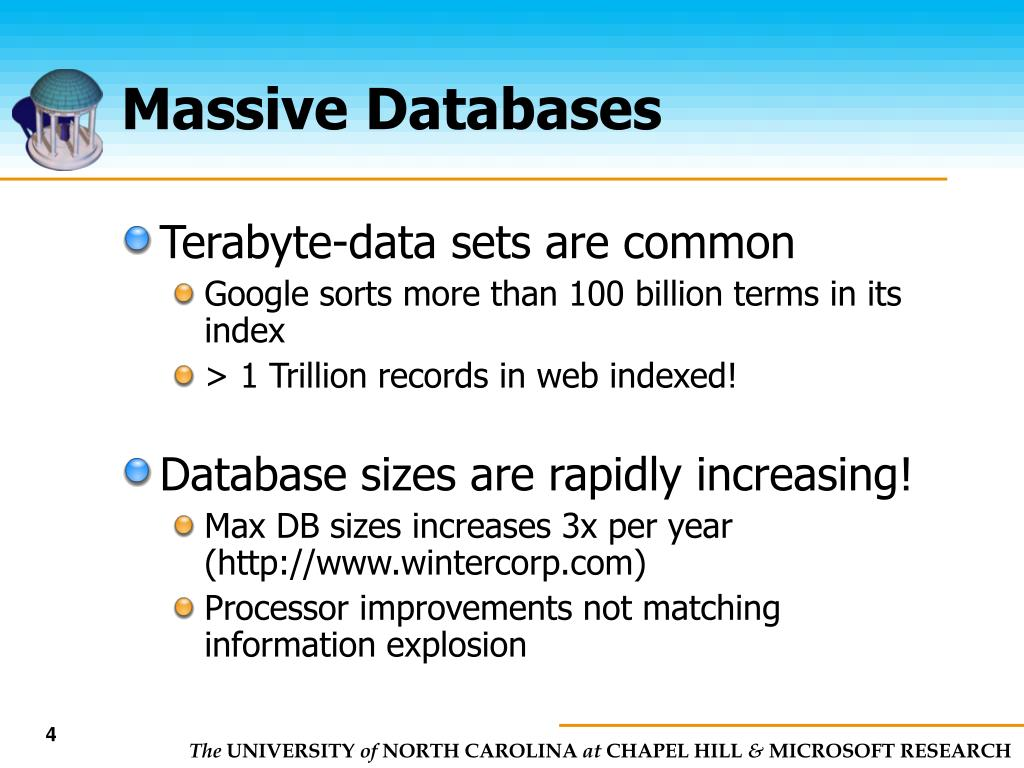 Massive Databases