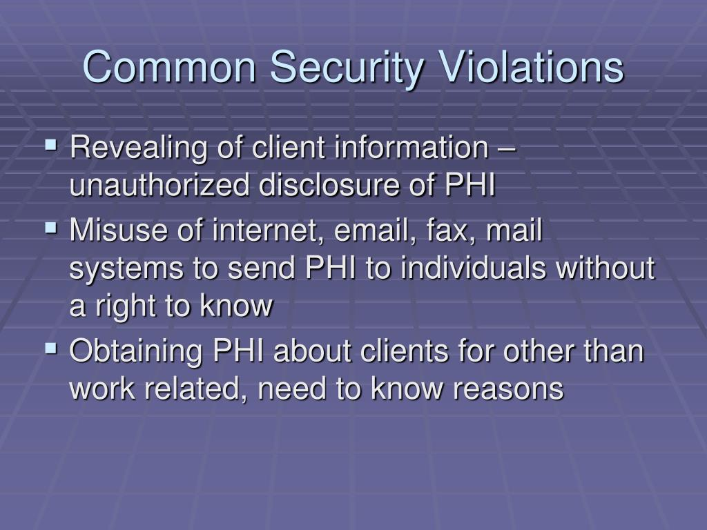 Common Security Violations