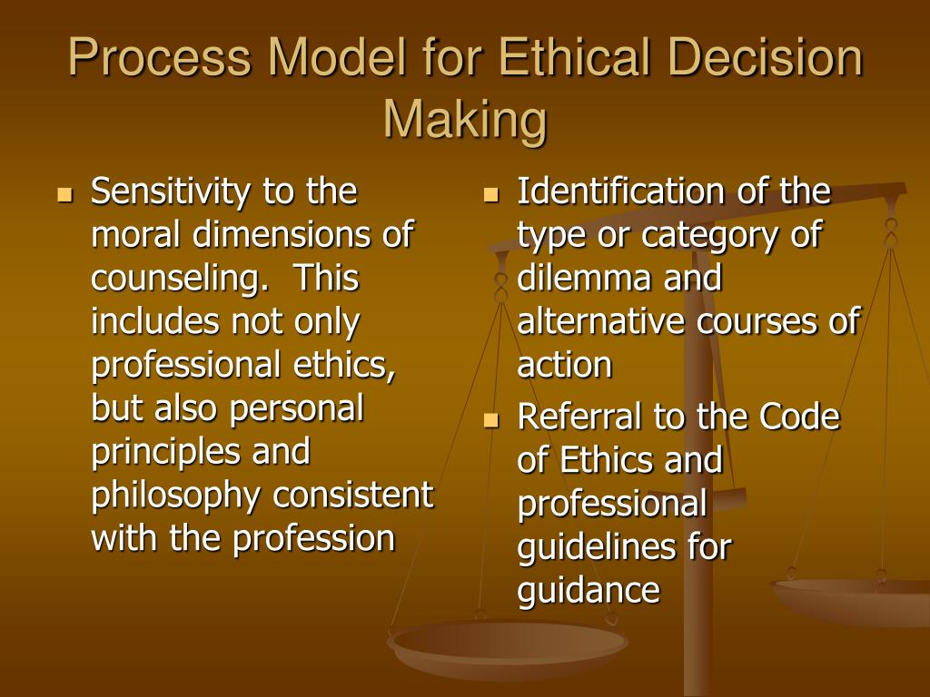 Sensitivity to the moral dimensions of counseling.  This includes not only professional ethics, but also personal principles and philosophy consistent with the profession