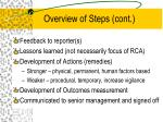 overview of steps cont