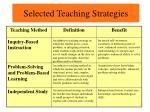 selected teaching strategies29