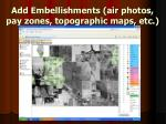 add embellishments air photos pay zones topographic maps etc