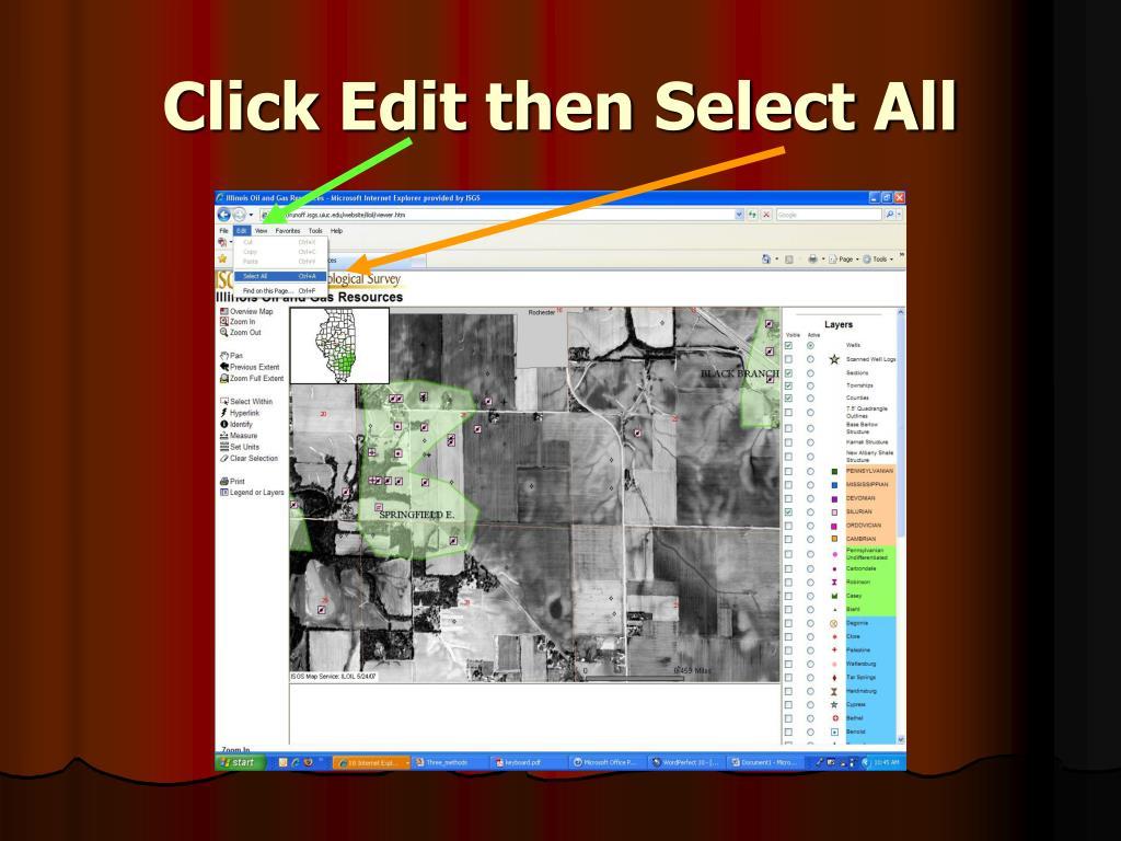 Click Edit then Select All