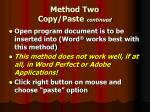 method two copy paste continued