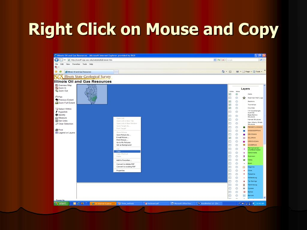 Right Click on Mouse and Copy