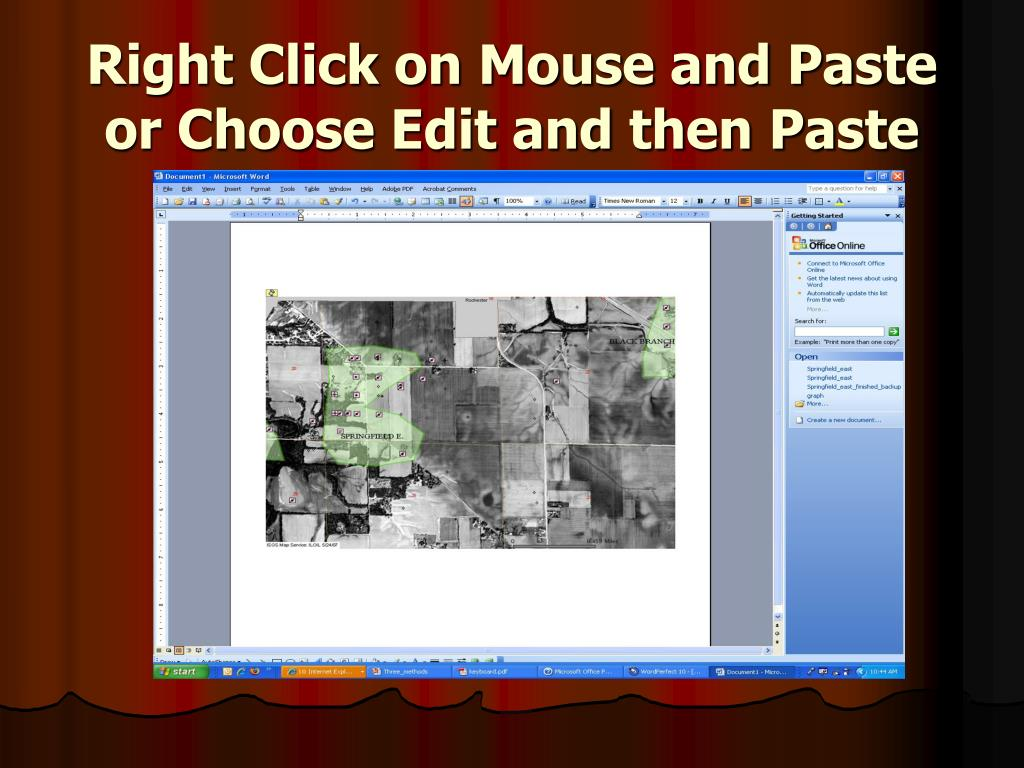 Right Click on Mouse and Paste or Choose Edit and then Paste