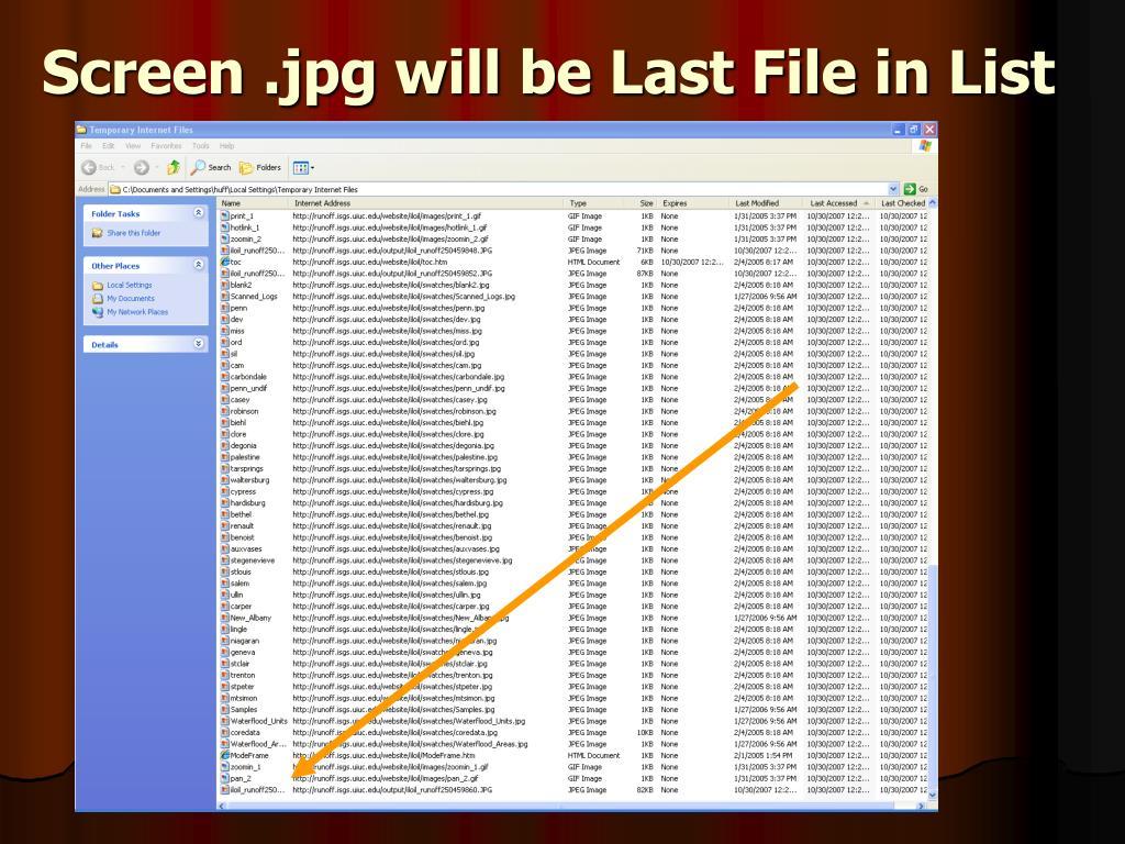 Screen .jpg will be Last File in List