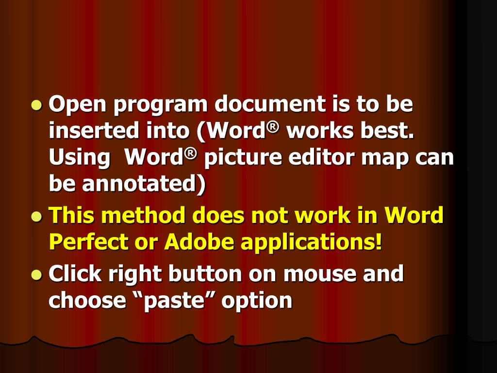 Open program document is to be inserted into (Word