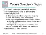 course overview topics