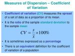 measures of dispersion coefficient of variation