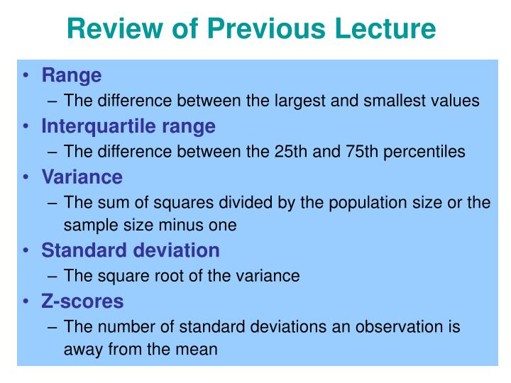 review of previous lecture n.
