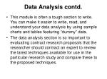 data analysis contd
