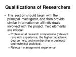 qualifications of researchers