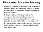 rp modules executive summary