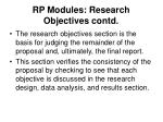 rp modules research objectives contd