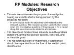 rp modules research objectives