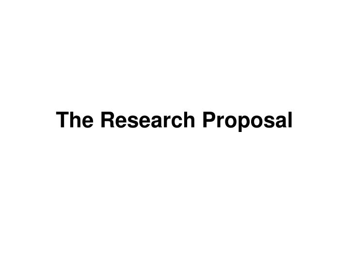 the research proposal n.