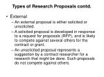 types of research proposals contd