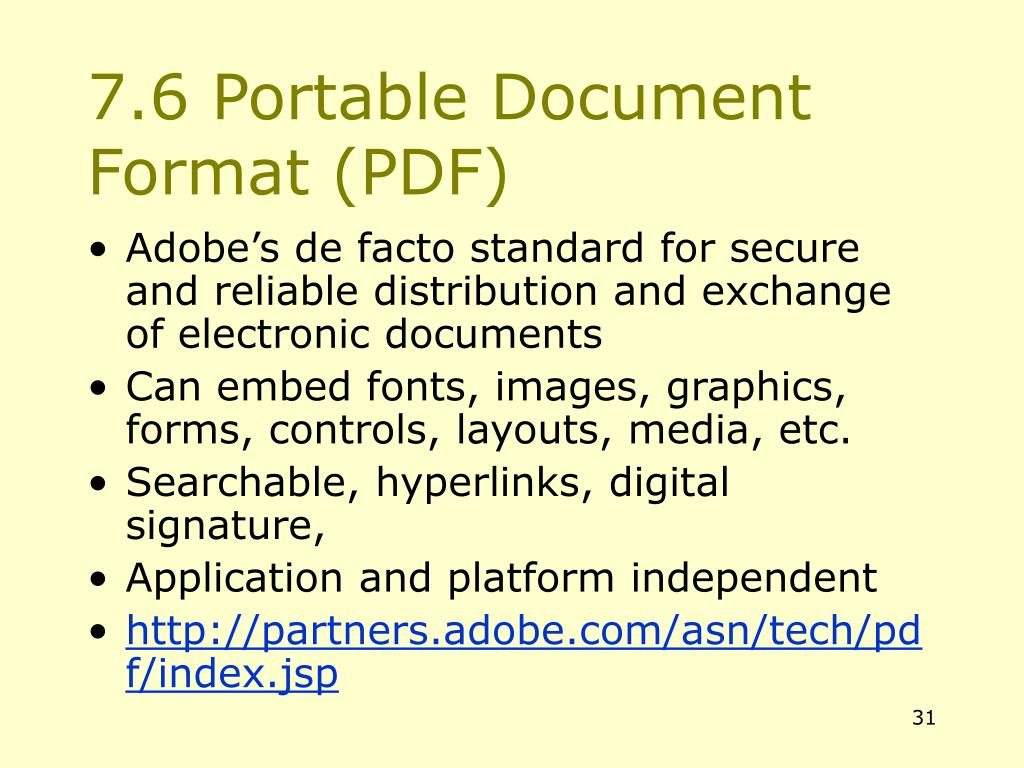 7.6 Portable Document Format (PDF)
