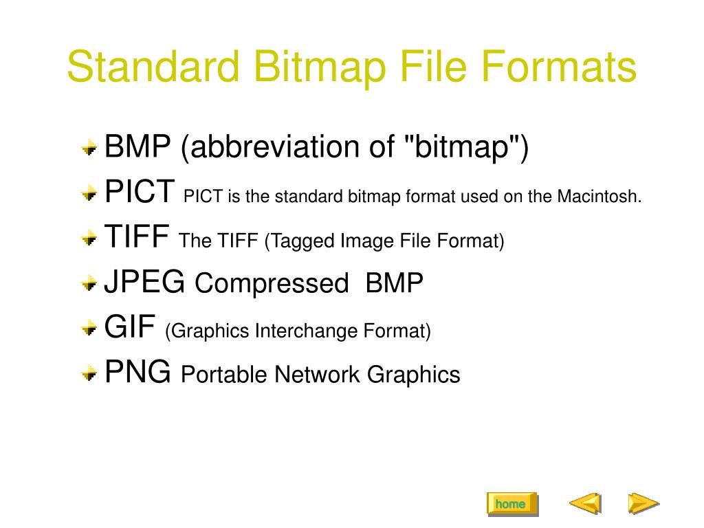 Standard Bitmap File Formats