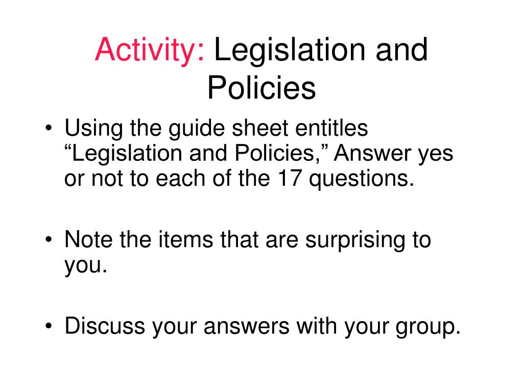 identify legislation and policies that are Understand the legislation and policies that support the human rights and inclusion of individuals with learning disabilities identify legislation and policies.