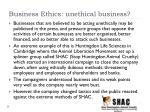 business ethics unethical business