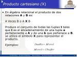 producto cartesiano x
