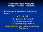 campo elettrico applicato voltaggio corrente resistenza