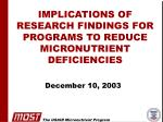 implications of research findings for programs to reduce micronutrient deficiencies