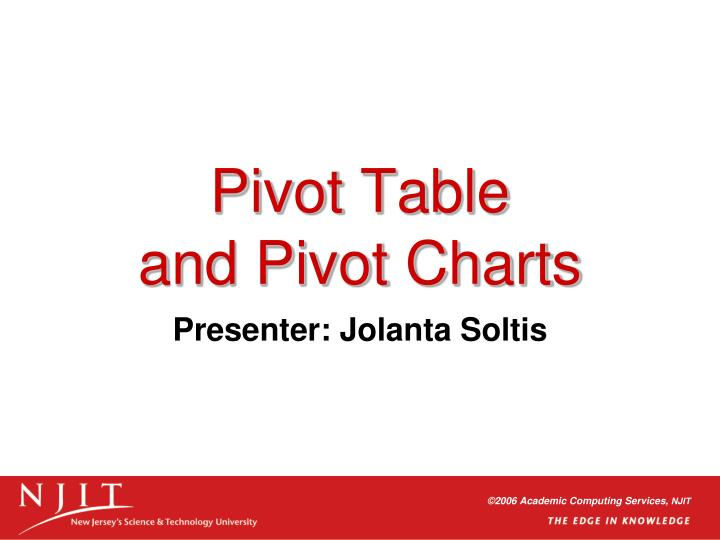 pivot table and pivot charts n.