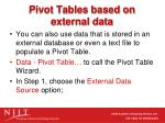 pivot tables based on external data