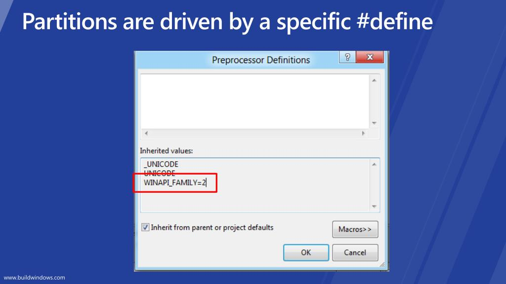Partitions are driven by a specific #define