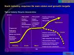 each industry requires its own vision and growth targets