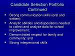 candidate selection portfolio continued