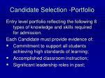 candidate selection portfolio