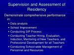 supervision and assessment of residency